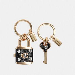 Coach bag charm valet key black